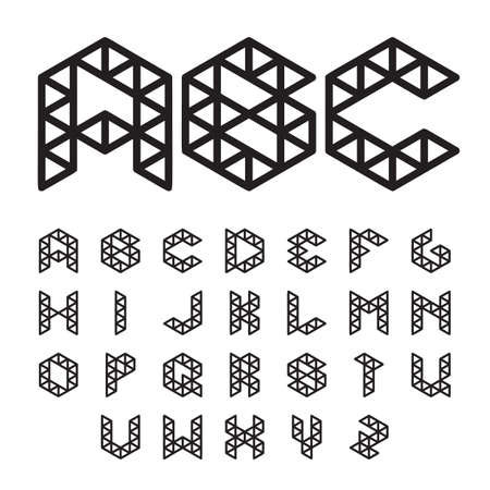 Lowpoly Font, Abc, Alphabet. Black on white. Vector