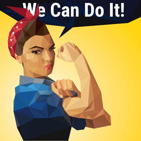 Możemy to zrobić. Iconic kobiecy symbol kobiecej mocy wykonane z wielokątów. Ilustracje wektorowe
