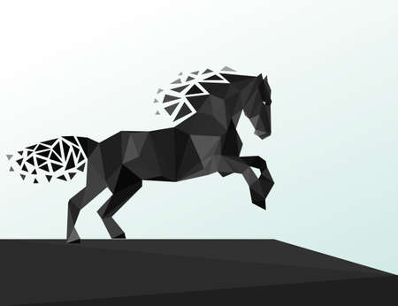 Black horse lowpoly geometric style. Vector illustration