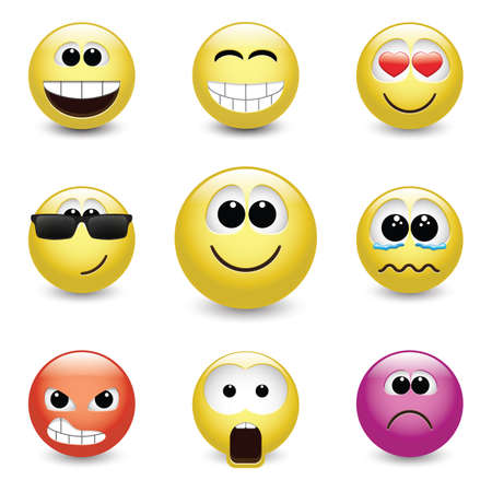 feelings of happiness: Set of different emotions, smiley faces expressing different feelings