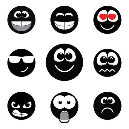 Set of different emotions, smiley faces expressing different feelings. Black and white version Ilustrace