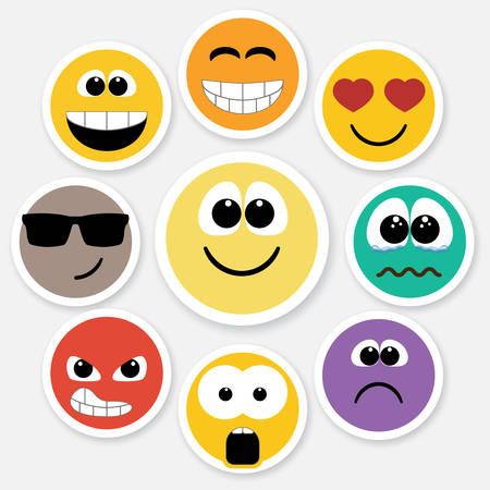Set of different emotions, smiley faces expressing different feelings. Colored version