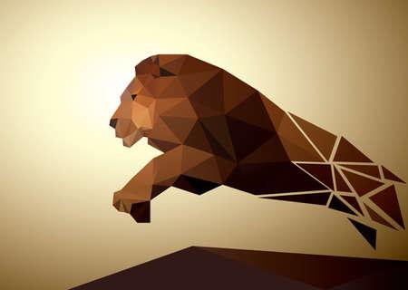 lion face: Lion polygonal geometric, pattern design. illustration