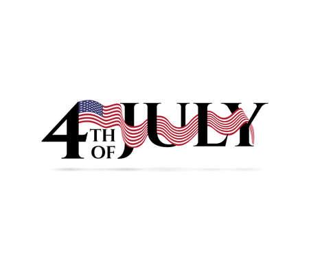 Feliz Día de la Independencia 4 de julio con los colores de la bandera americana. Ilustración de vector
