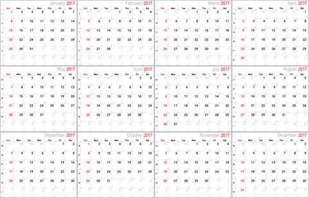 number 12: Vector calendar planner schedule agenda organizer 2017 week starts with sunday, american version