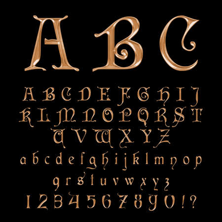 Elegant Gold Font,Alphabet, ABC and numers