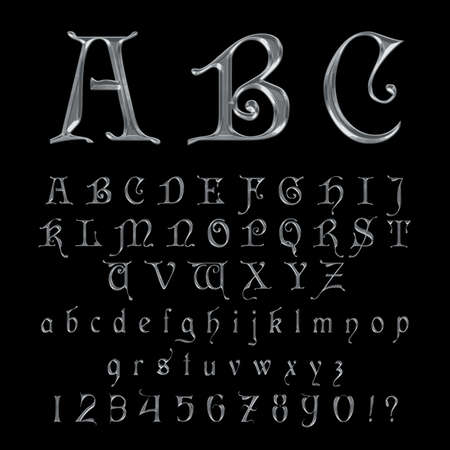 Elegant Silver Platinum Font,Alphabet, ABC and numers