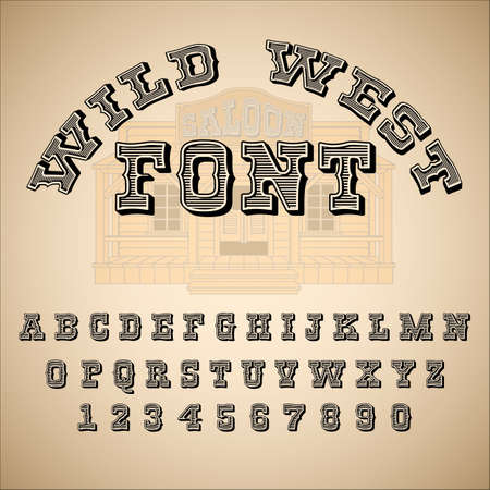 Vintage font, ABC, alphabet. Western style. Vector