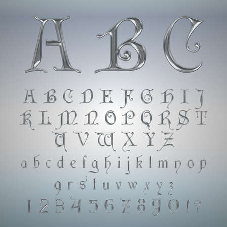 numers: Elegant Silver Platinum Font,Alphabet, ABC and numers Vector