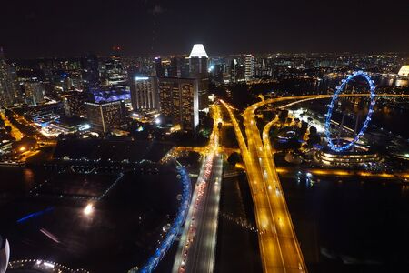 Singapore aerial night view from high building Редакционное