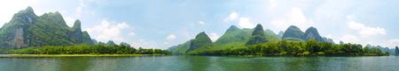 Guilin vue paysage panoramique du centre de la rivière