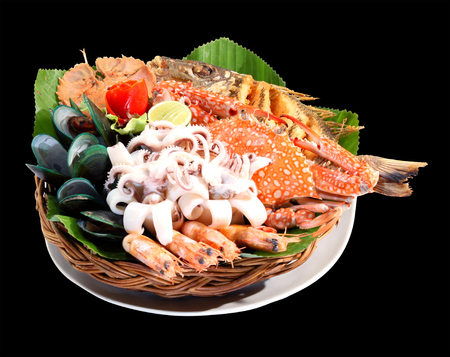 seafood platter: cooked seafood platter mixed with mussels, rock lobster, fish, shrimp, carb and squid