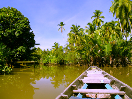 Local boat cruise on tropical river, Thailand