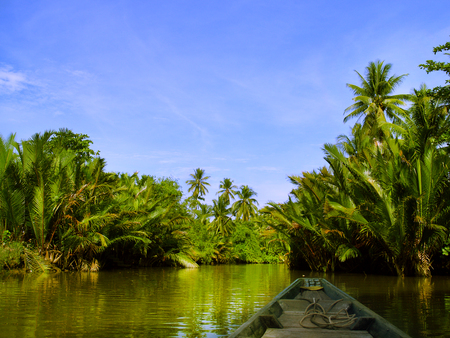 Local boat cruise on tropical river