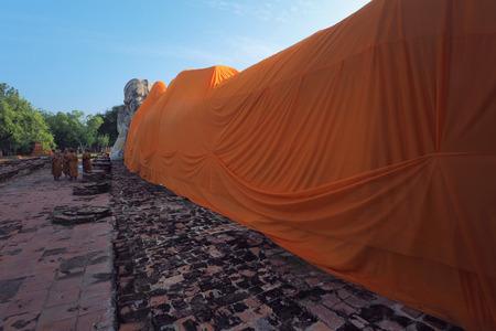 Huge monk statue (Sleeping form) in Ayutthaya