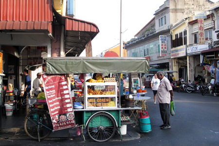 Penang, Malaysia - FEBRUARY 22 2016: Traditional Street food in the morning at George Town World Heritage UNESCO, Penang Malaysia Editorial