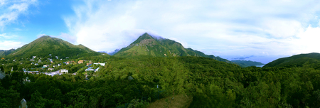 The beautiful top of mountain in the mist (Ngong Ping, Lantau, Hongkong) Stock Photo