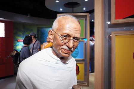 Bangkok, Thailand - SEPTEMBER 19 2016: Mahatma Gandhi wax figure at Madame Tussauds, Bangkok Thailand