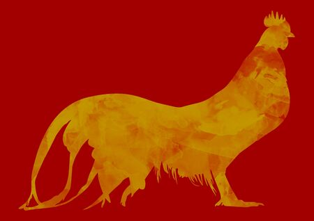 chinese new year card: Chicken brush paint in Gold and Red Stock Photo