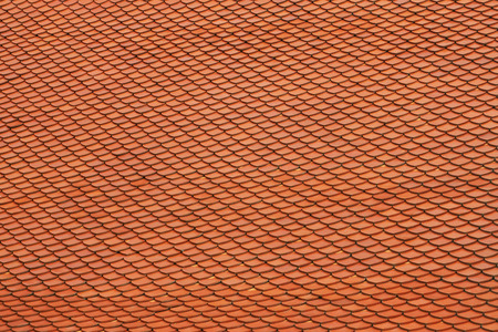 orange clay tile roof for background texture