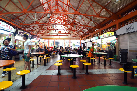 Singapore - 17 MAY 2015: Maxwell food center is The Maxwell Road Hawker Food Centre is well known for its affordable, tasty and huge variety of local hawker food.