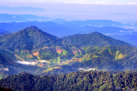 aerial mountain village view from genting high land in Malaysia