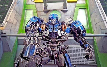 Singapore - 18 JUNE 2015: Optimus Prime Robot figure at entrance gate of tansformer stage area inside Universal Studio Singapore