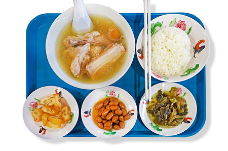 traditional pork bone soup set menu served on tray - isolated on white background