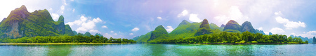 Guilin river 360 panorama photo from middle of the river Stock Photo