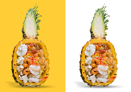 fried rice served inside pineapple isolated on white background Stock Photo