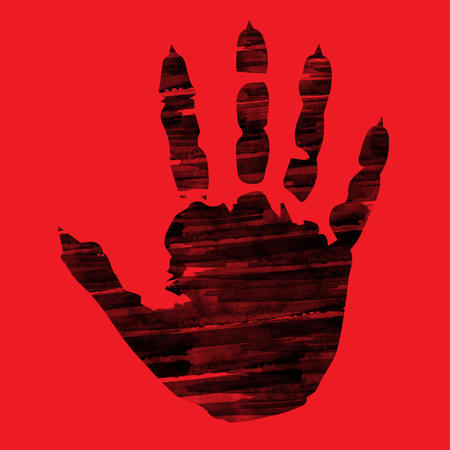 Silhouette demon hand digital ink painting in red background - created by me Stock Photo