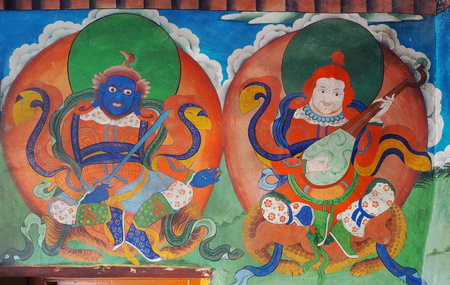 Leh, India - JUNE 23 2017: antique colorful Bhudda wall paint at Likr Monastery, Leh India