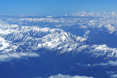 Aerial view massive snow mountain range at Leh Ladakh, India