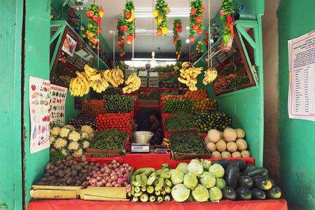 India - June 18 2017: Local fruit and vegetable shop in leh main bazaar Leh Ladakh - India 新闻类图片
