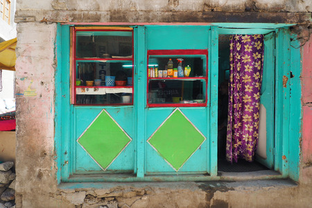 India - June 18 2017: Local house in leh main bazaar Leh Ladakh - India Editorial