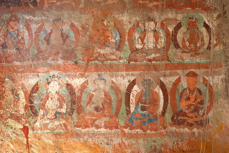 Leh, India - JUNE 23 2017: Old Buddha wall paint got dirty from color splashed at Likr Monastery, Leh India Editorial