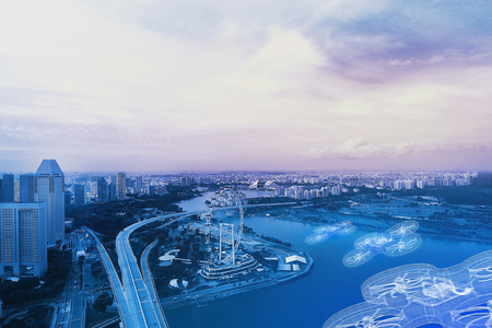 Concept photo with Drone flying above on Blue tone modern Singapore cityscape finance district view skyline background Foto de archivo