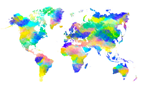 World map watercolor paint in fresh light vivid and bright color stock photo world map watercolor paint in fresh light vivid and bright color theme gumiabroncs Choice Image