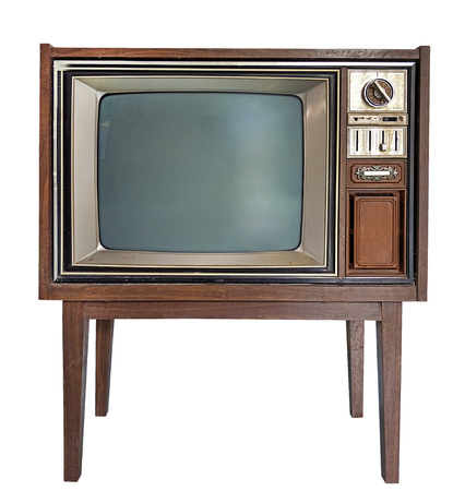 Antique wooden television in Isolated white background Stock Photo