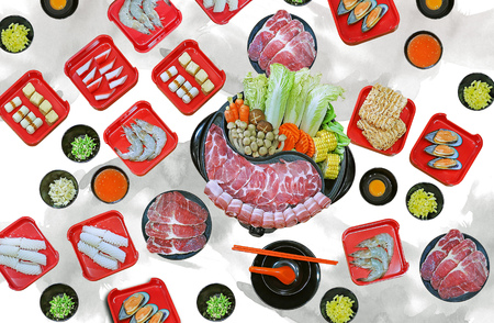 isolated on white background  - assort many of Suki yaki shabu set on hot pot, pork, beef, mussel, squid, egg, shrimp, fish ball view from top