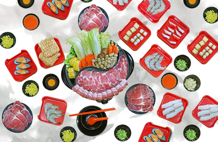 isolated on white background with clipping path - assort many of Suki yaki shabu set on hot pot, pork, beef, mussel, squid, egg, shrimp, fish ball view from top Standard-Bild