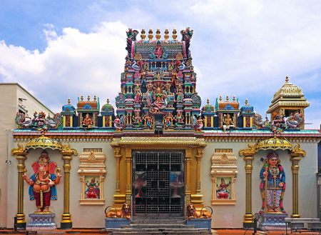 Malaysia - AUGUST 19 2017: Entrance gate of Hindu Sri Mahamariamman Temple in Little India at Georgetown Penang, Malaysia
