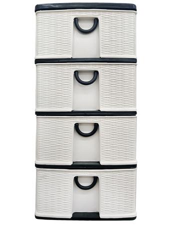 Tiroir en plastique de couleur noir et blanc simple pour votre maison isolé sur fond blanc