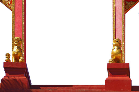 entrance gate arch with gold lion statue on door side at public chinese temple di cut isolated on white background Фото со стока