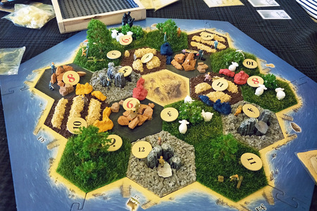Phuket Thailand - 9 FEBRUARY 2018: DIY custom Catan Boardgame base in 3d model and set to play  on the original tile to play on table