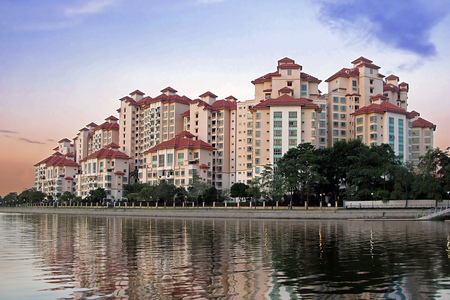 Singapore - 15 MAY 2011: Costa Rhu the exclusive residential condominiums located close to river in center of Singapore Editorial
