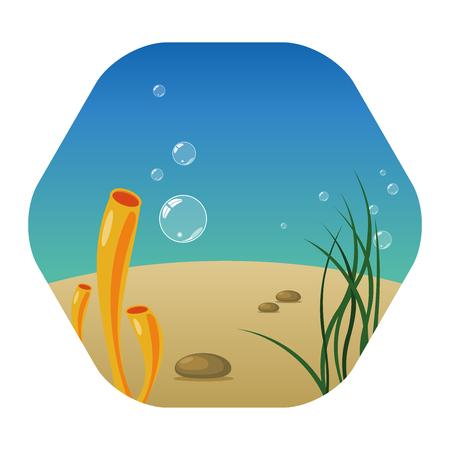 Paesaggio sottomarino con alghe, coralli, pietre e bolle. La bellezza della vita marina con la barriera corallina. Pace in fondo all'oceano. Disegno dell'icona esagonale.
