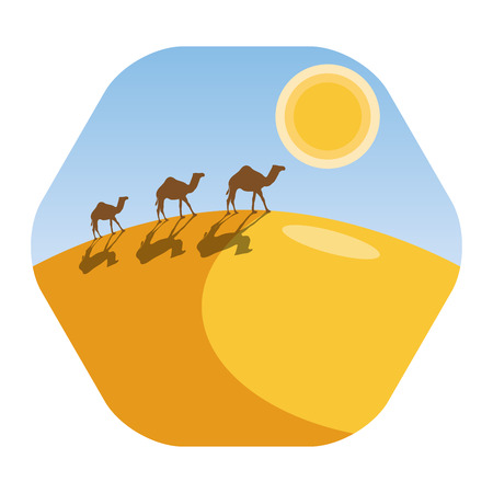 Desert landscape with camel caravan. Camel silhouettes on the horizon with sun. Dry and endless desert. Concept of journey, travel, arabic, adventure and tourism. Hexagonal icon design. 일러스트