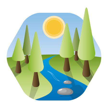 River flowing through forest. Nature landscape with trees, shining sun, scenic green fields and a stream. Concept of nature, health, travel, country and escape. Hexagonal icon design.