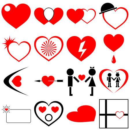 Valentine's day, love and heart icon pack. Funny pictograms of a couple. Concept of love, relationship, emotions and gifts.